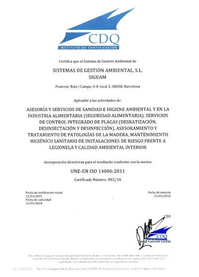 Empresa Pionera; Certificaciones de Calidad y Medio Ambiente