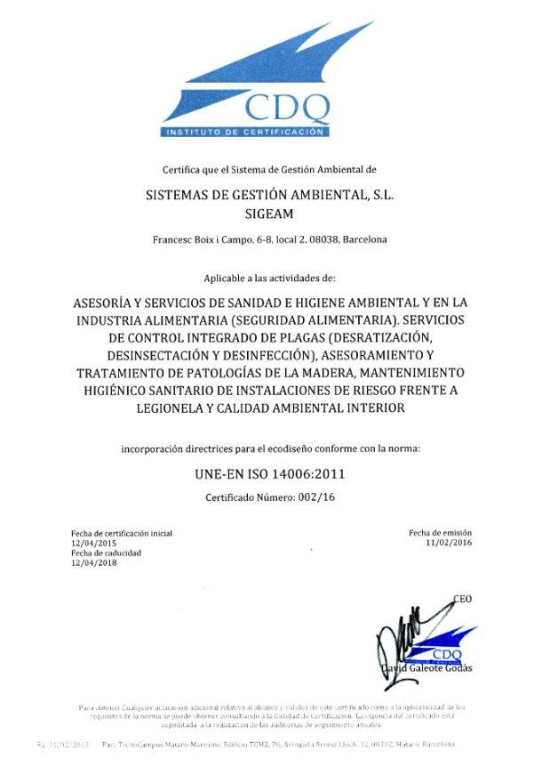 Empresa Pionera; Certificaciones de Calidad y MedioAmbiente