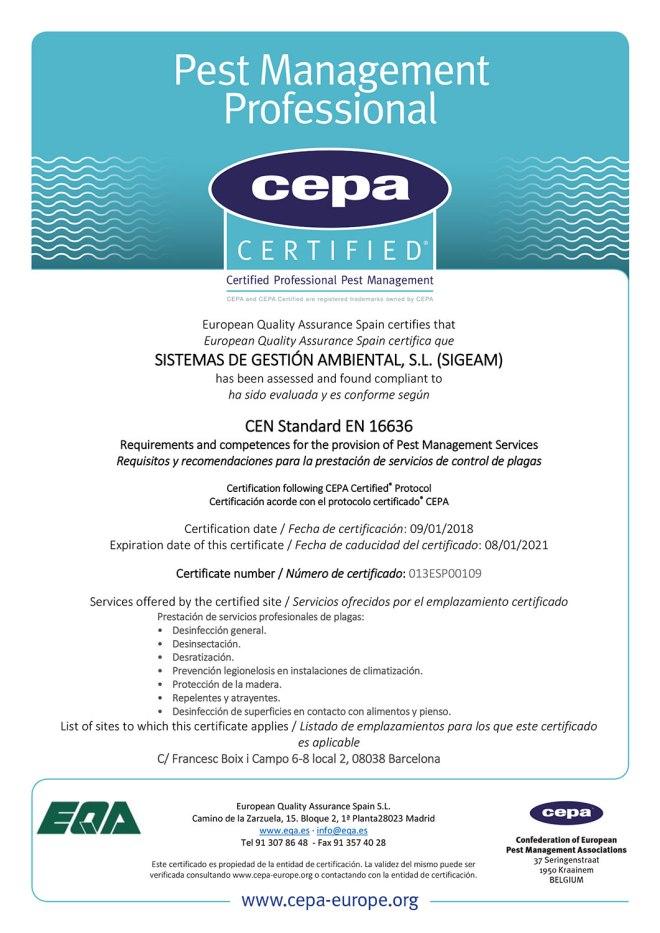 SIGEAM obtiene la certificación EN 16636